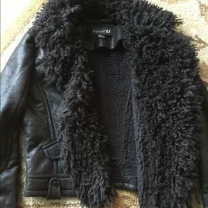 Jackets & Coats - FOREVER 21 cropped faux suede pilot jacket size M
